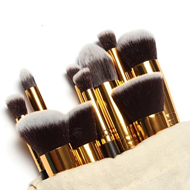 10pcs Makyaj fırçaları Profesyonel Fırça Setleri / Allık Fırçası / Far Fırçası Naylon Fırça Portatif / Seyahat / Çevre-dostu Ahşap Orta
