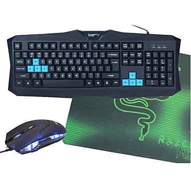 Kablolu Fare klavye kombo Mouse Pad ile Arkadan aydınlatmalı USB Port oyun klavyesi