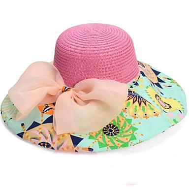 Femei de moda Big Bowknot Folding Beach Hat