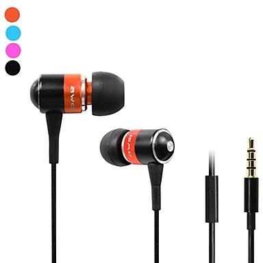 Moda Awei Q3i 3.5mm Plug In-Ear aliaj de aluminiu Super Bass microfon căști-(Orange / Albastru / Negru)