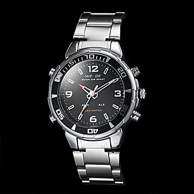 Men's Dress Watch Quartz Japanese Quartz LED Calendar Chronograph Water Resistant / Water Proof Dual Time Zones Alarm Stainless Steel Band