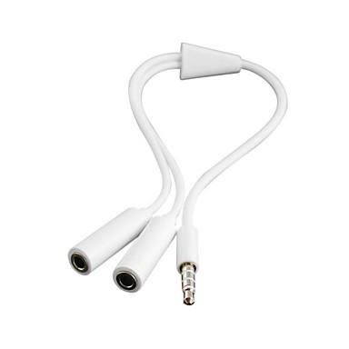 vit 3 pos. 3,5 mm hörlursuttag splitter jack kabel för iphone ipad& mp4 mp3