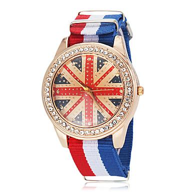Unisex Wzór Flaga Wielkiej Brytanii Styl Tkanina Zespół Quartz Wrist Watch (różne kolory)