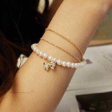 Moda dulci Diamanted bowknot femei alb artificiala Pearl Strand brățară (1 buc)