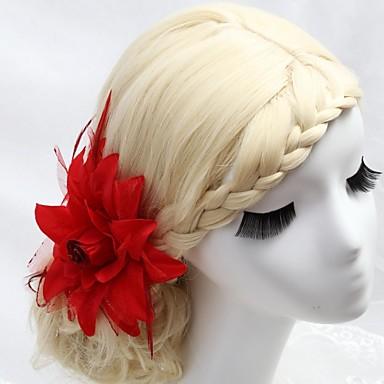 Kristal Tüy Kumaş - Tiaras Saç Combs Çiçekler 1 Düğün Özel Anlar Parti / Gece Dış mekan Başlık