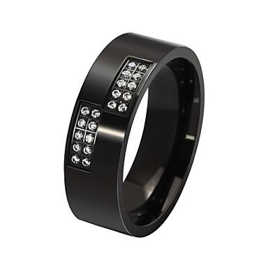 Мода инкрустированные Циркон нержавеющей Мужская стальное кольцо (1 шт)