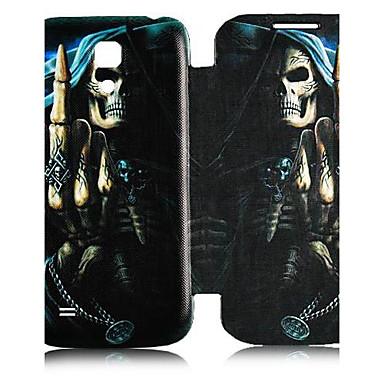 Için Samsung Galaxy Kılıf Kılıflar Kapaklar Flip Temalı Tam Kaplama Pouzdro Kafatası PU Deri için Samsung S4 Mini