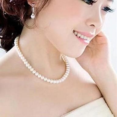Pentru femei Coliere Choker Κολιέ με Πέρλες Y în formă Perle Imitație de Perle de Mireasă Elegant Alb Bijuterii PentruNuntă Petrecere