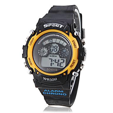 남녀 다기능 LCD 디지털 방식으로 노란색 케이스 블랙 밴드 스포티 손목 시계