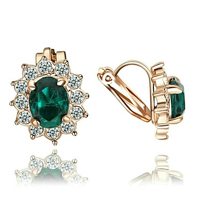 Pentru femei Cristal Cristal Placat Auriu Diamante Artificiale 1 Cercei Picătură Cercei cu Clip - Rosu Verde Albastru cercei Pentru Nuntă