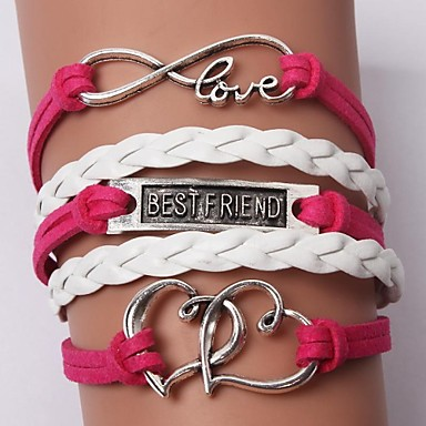 Women's Layered Charm Bracelet / Leather Bracelet - Leather Friends, Heart, Love Personalized, Unique Design, Fashion Bracelet Red For Christmas Gifts / Wedding / Daily