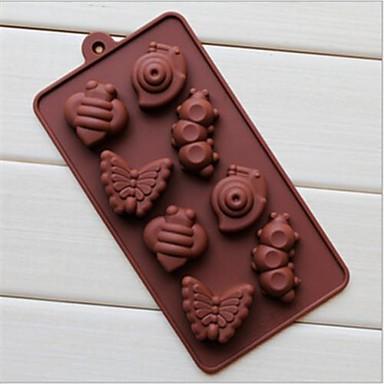 8 delikli salyangoz tırtıl şeklinde pasta buz jöle çikolata kalıpları, silikon 19.2 × 10.6 × 2 cm (7.6 × 4.2 × 0.8 inç)