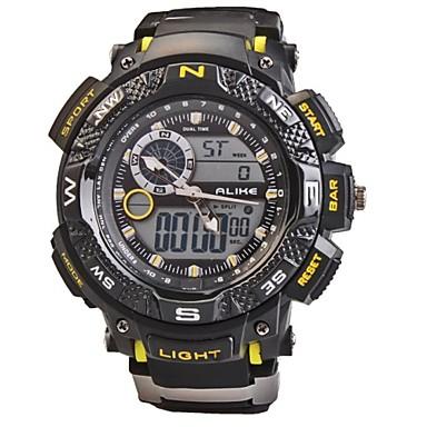 Heren Digitaal horloge Polshorloge Sporthorloge Kwarts Digitaal Alarm Kalender Chronograaf Waterbestendig LED Dubbele tijdzones PU Band