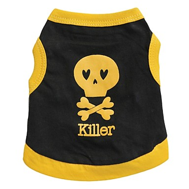 cheap Dog Clothing & Accessories-Cat Dog Shirt / T-Shirt Dog Clothes Heart Skull Yellow Blue Black / Yellow Cotton Costume For Spring &  Fall