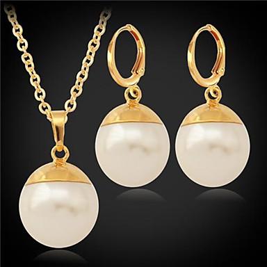 Perle Perle Imitație de Perle Placat Auriu Set bijuterii Σκουλαρίκια Coliere - Pietrele Lunilor Seturi de bijuterii Pentru Nuntă