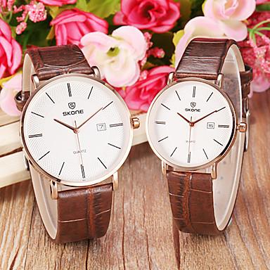 Heren Dames Voor Stel Dress horloge Modieus horloge Kwarts Japanse quartz Kalender Leer Band Bruin