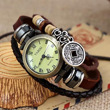 Women's Vintage Style Copper Cash Pendant Brown Leather Band Quartz Bracelet Watch Cool Watches Unique Watches Fashion Watch