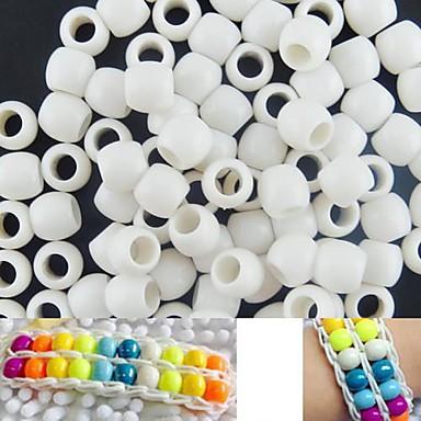 ca. 100pcs 8x9mm weißen Perlmuttperlen Pony Regenbogen Farbe Webstuhl Armband diy Zubehör