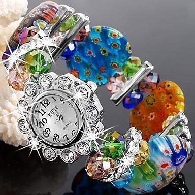 pentru Doamne Ceas Elegant Ceas La Modă Ceas Brățară Quartz Plastic Bandă Sclipici Flori Brățară rigidă Multicolor Verde