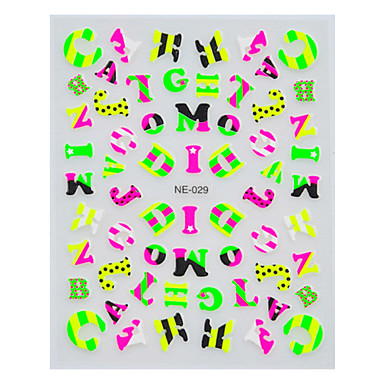 1pcs bonito letras inglesas multicolor Nail Art adesivos