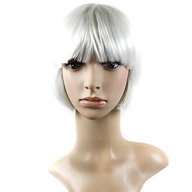 Synthetische Perücken Damen Glatt / Natürlich gerade Weiß Mit Pony Synthetische Haare 10 Zoll Weiß Perücke Kappenlos Weiß