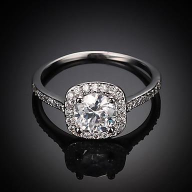 Kadın's Kübik Zirconia Solitaire / Küme Bildiri Yüzüğü / Nişan yüzüğü - Gümüş Kaplama, Altın Kaplama Aşk Avrupa, Gelin 6 / 7 / 8 Altın / Gümüş / Gül Altın Uyumluluk Düğün / Parti / Yıldönümü