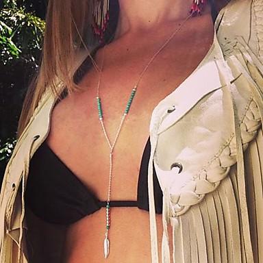 Perlenbesetzt Anhängerketten - Feder Quaste, Böhmische, Europäisch Handgemacht Silber Modische Halsketten Schmuck Für Alltag, Normal