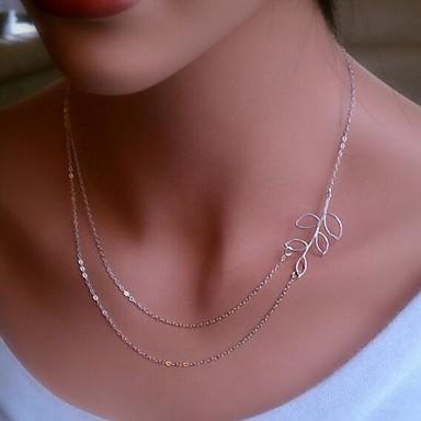 Kadın's Gerdanlıklar - Leaf Shape minimalist tarzı, Çift katman Gümüş, Altın Kolyeler Mücevher Uyumluluk Günlük