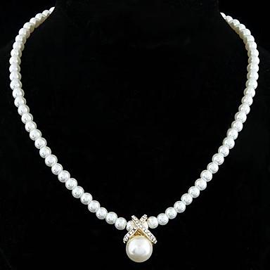 Damen Perle Anhängerketten / Perlenkette - Perle, Sterling Silber, Künstliche Perle Elegant, Brautkleidung Silber, Golden Modische Halsketten Schmuck Für Hochzeit, Party, Alltag / versilbert / Strass