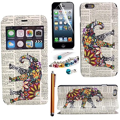 fantezie elefant din piele PU cu vitrina slot pentru card cu stylus, folie de protecție și priza de praf pentru iPhone 6 plus