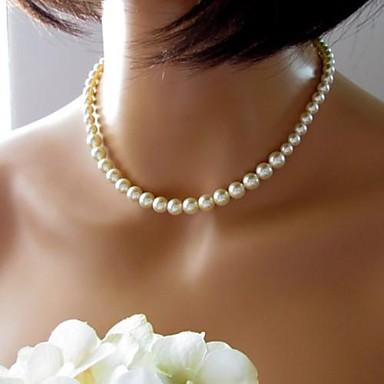 Perle Kjeder Halskjede damer Vintage Europeisk Brude Perle Imitert Perle Skjermfarge Halskjeder Smykker 1pc Til Bryllup