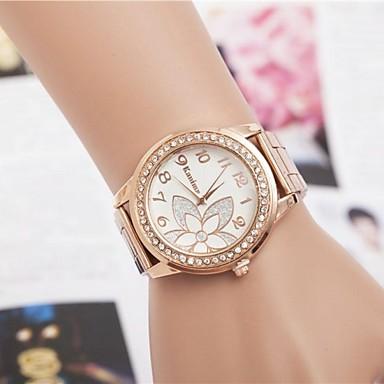 Dames Modieus horloge Kwarts Hot Sale Legering Band Bloem Glitter Zilver Goud Rose