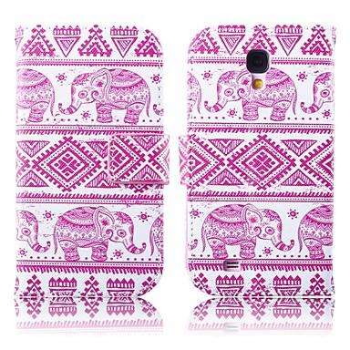 roze olifanten patroon pu leer full body case met standaard voor samsung s4 i9500