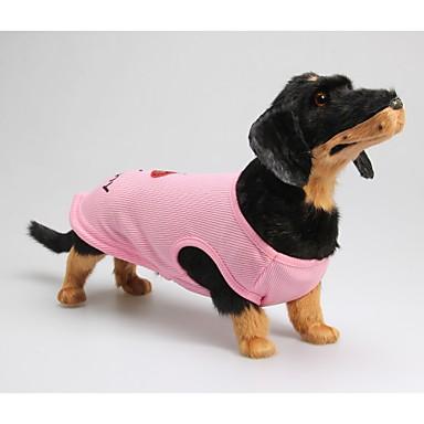 Köpek Tişört Köpek Giyimi Harf & Sayı Pembe Pamuk Kostüm Evcil hayvanlar için Yaz Erkek / Kadın's Günlük / Sade