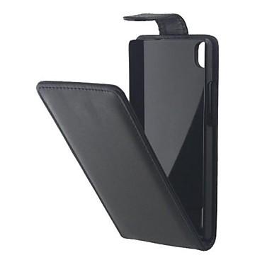 padrão de cor sólida abrir cima e para baixo de couro pu caso de corpo inteiro para Huawei p7
