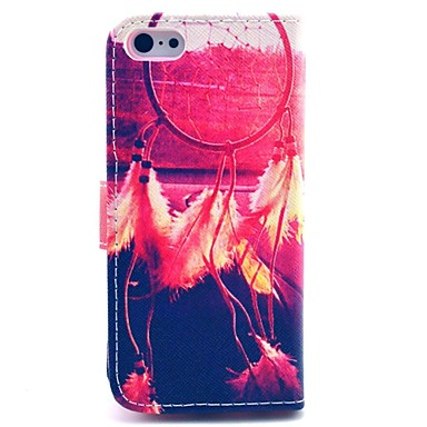 kleurrijk dromenvanger patroon full body case met standaard en kaartslot voor iphone 5c