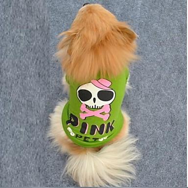 Katze / Hund T-shirt Hundekleidung Totenkopf Motiv / Buchstabe & Nummer Grün Baumwolle Kostüm Für Haustiere Sommer Cosplay