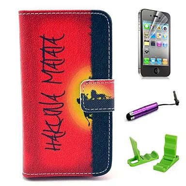 patroon pu lederen tas met screen protector en stylus voor de iPhone 4 / 4s