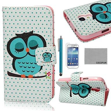 coco fun® drăguț model de somn bufniță pu caz de piele cu protecter ecran și stylus pentru Samsung Galaxy s4 mini i9190