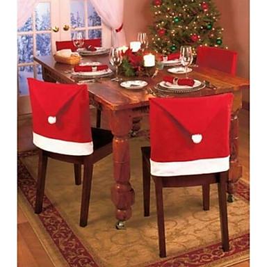 1 adet yılbaşı partisi dekorasyonu santa kırmızı şapka koltuğu arka kapakları