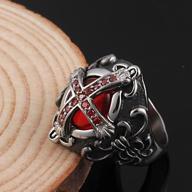 Ανδρικά Band Ring Συνθετικό ρουμπίνι Πολυτέλεια Συνθετικοί πολύτιμοι λίθοι Ανοξείδωτο Ατσάλι Ζιρκονίτης Κοστούμια Κοσμήματα Πάρτι