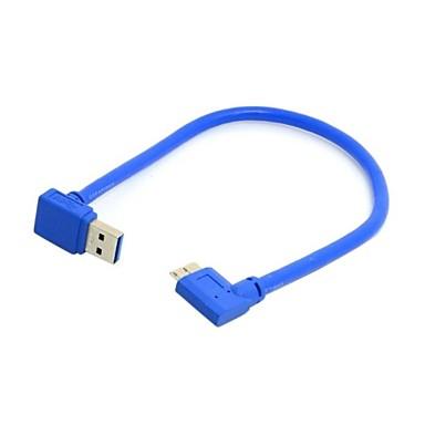 Abwärtsrichtung gewinkelt 90 Grad USB 3.0 A Stecker auf Micro-B-Stecker abgewinkelt Kabel 20cm