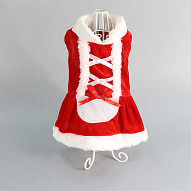 Kedi Köpek Elbiseler Köpek Giyimi Kırmzı Pamuk Kostüm Evcil hayvanlar için Kadın's Düğün Noel