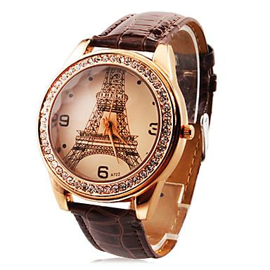 De gepersonaliseerde modieuze vrouwen horloge luxe diamanten Eiffeltoren pu band