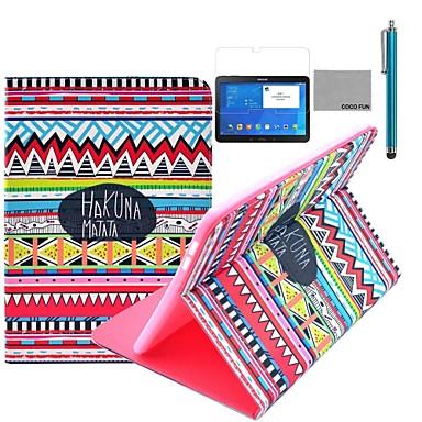 coco fun® roșu model covorul tribal caz suport din piele PU clapa cu film și stylus pentru Samsung Galaxy Tab 10.1 4 T530