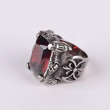 Heren Statement Ring - Titanium Staal Vintage, Punk, Gothic 7 / 8 / 9 Zwart / Rood Voor Feest / Dagelijks / Causaal