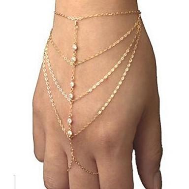 Damen Diamantimitate Ketten- & Glieder-Armbänder - Einzigartiges Design Freizeit Modisch Schmuck Golden Armbänder Für Weihnachts