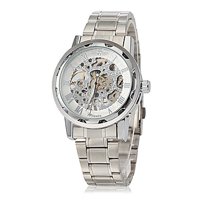 WINNER Masculino Relógio Esqueleto relógio mecânico Mecânico - de dar corda manualmente Gravação Oca Aço Inoxidável Banda PrataBranco