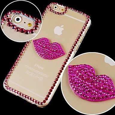 Red Crystal Lip Prints Pattern Hard Back hoesje for iPhone 6 Plus