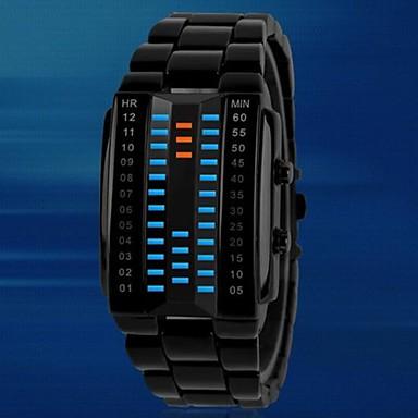 Heren Sporthorloge Digitaal horloge LED Digitaal Legering Band Zwart Zilver